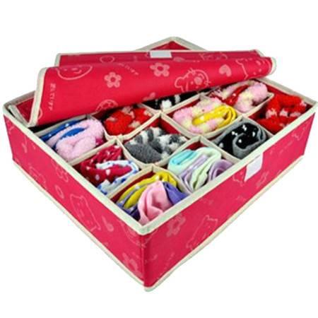 优芬 精品收纳盒 有盖内衣收纳盒16格 红色两款随机