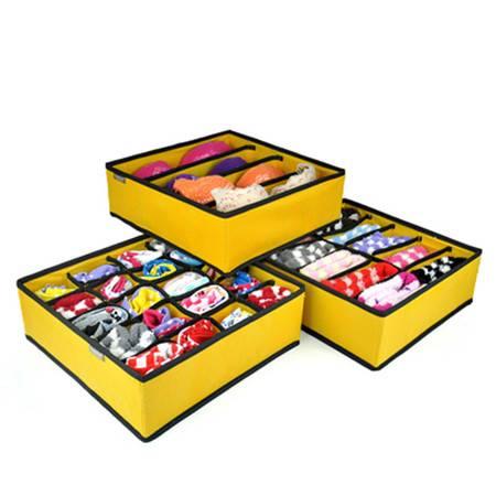 优芬内衣收纳盒三件套 韩版创意无纺布文胸泡泡纹整理盒颜色随机