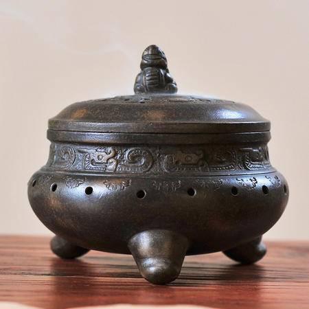 陶瓷故事 香炉宜兴仿古紫砂香炉熏香炉兽钮三足炉适宜沉香檀香盘香塔香 貔貅