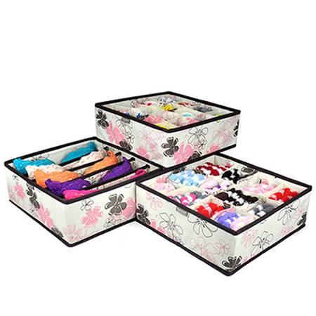 优芬无盖内衣收纳盒三件套 紫荆花三件套收纳纳盒三件套