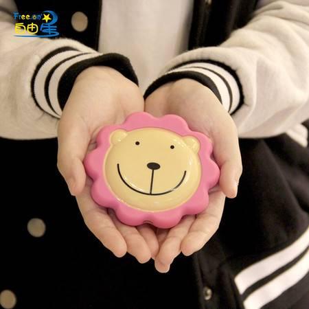 自由星奶油小熊便携式USB充电暖手宝颜色随机