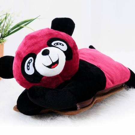 可爱趴趴熊可拆洗双插手热水袋/电暖袋 未注水--紫红色(821)