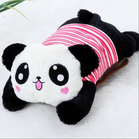 耀点100 可爱小熊猫可拆洗双插手热水袋/电暖袋 未注水--红色条纹(826)
