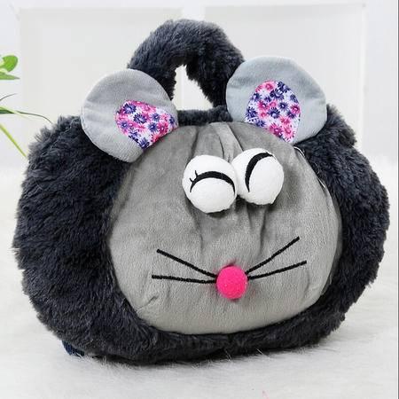耀点100 萌卡通双插手带提手热水袋/电暖袋 未注水--灰色大眼鼠(810)
