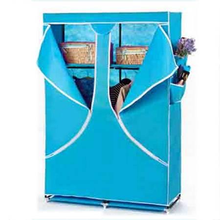 普润 双人加固钢架折叠简易衣柜 中号 天蓝色