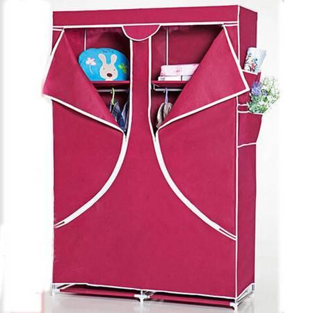 普润 加固简易衣柜 大号酒红色布衣橱 简易布衣柜折叠组合收纳整理柜