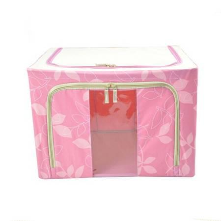 普润 66L粉色 牛津布钢架百纳箱 整理收纳箱 粉色树叶 单视 双开门