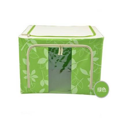 普润 66L绿色 牛津布钢架百纳箱 整理收纳箱 绿色树叶 单视 双开门