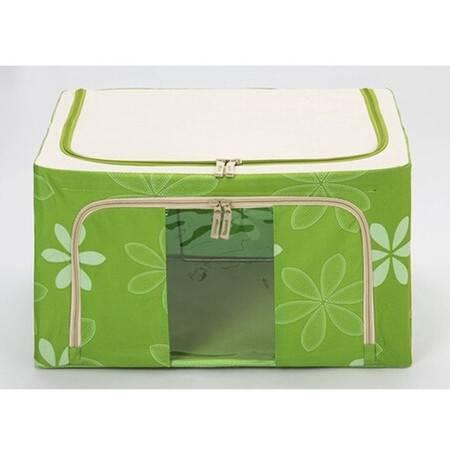 普润 80L 牛津布钢架百纳箱 整理收纳箱 绿色太阳花 单视 双开门