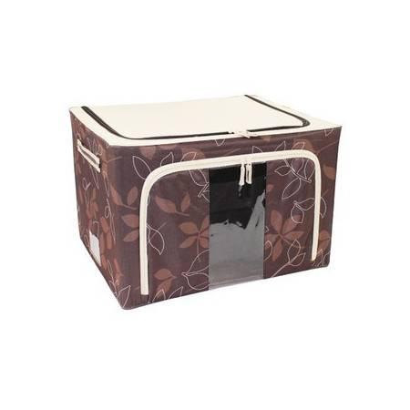 普润 80L绿色 牛津布钢架百纳箱 整理收纳箱 咖啡色树叶 单视 双开门
