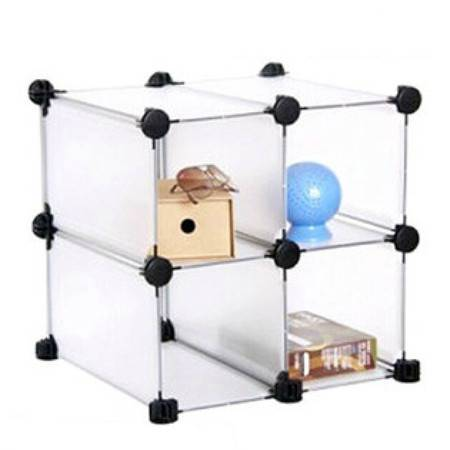 普润 DIY百变组合式小4格置物收纳架 整理架 收纳柜 创意家居