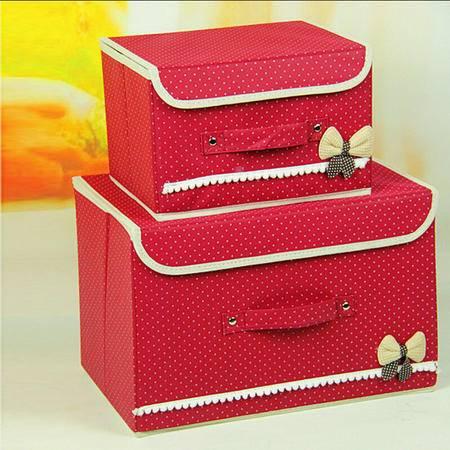 普润 韩式波点蝴蝶结两件套收纳盒 收纳箱 衣物整理箱 酒红色