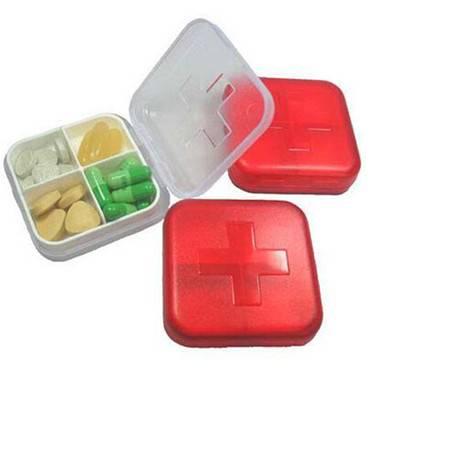 普润 新版十字四格药盒 随身创意小药盒随身提醒可爱药盒子2只装