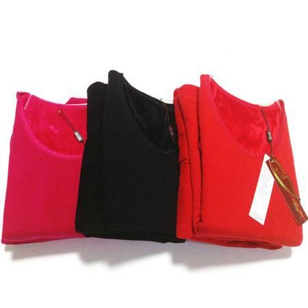 冰洁 秋冬新款女士纯色加绒加厚保暖内衣套装 女款塑身美体 大红色160/85L