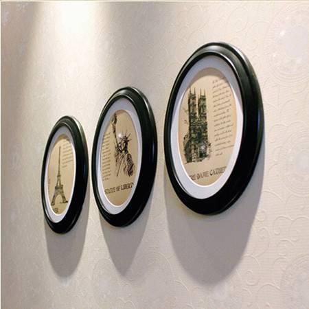 普润 简易欧式 木质相框/经典相框/套装相框 三件套