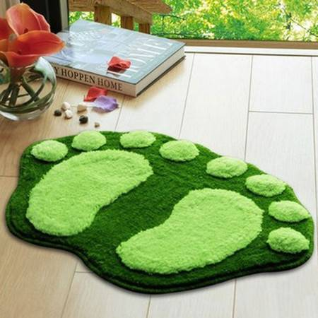 普润 可爱植绒脚丫地垫 地毯 吸水防滑浴室垫 入门口垫 绿色