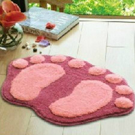 普润 可爱植绒脚丫地垫 地毯 吸水防滑浴室垫 入门口垫 粉色