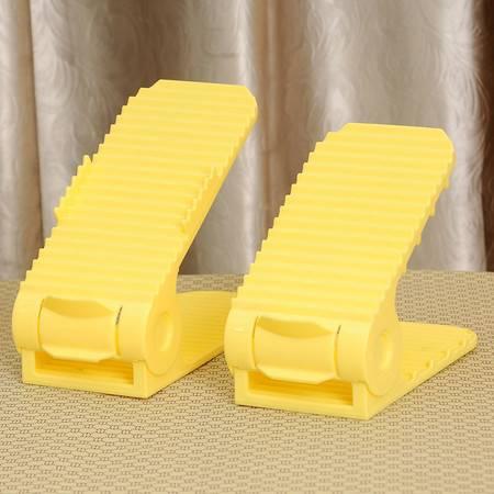 艺源第四代双层立体式可调节亲子鞋架 1对装--黄色(儿童款)