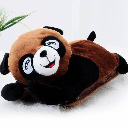 超可爱趴趴熊可拆洗双插手热水袋/电暖袋 未注水--棕色(821)