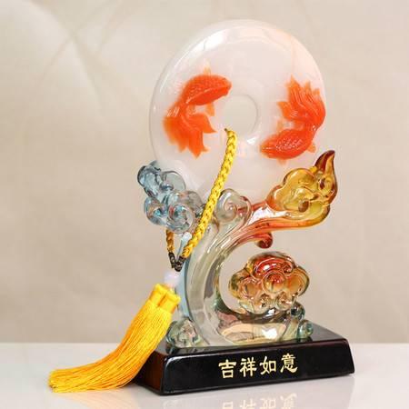 普润 年年有鱼琉璃摆件仿玉璧摆设吉祥如意玉璧摆件 创意高档商务礼品
