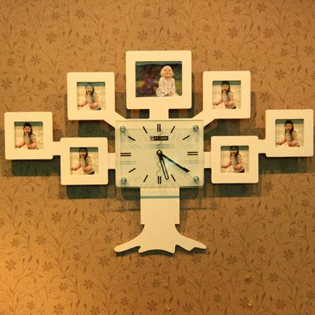 普润 树状创意挂钟静音相框挂钟客厅卧室装饰钟 白色