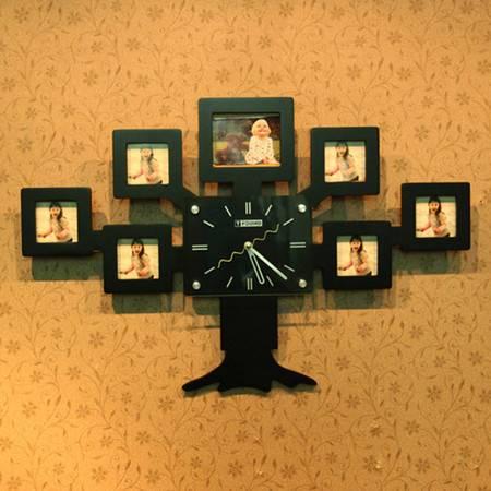 普润 树状创意挂钟静音相框挂钟客厅卧室装饰钟 黑色