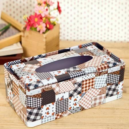 普润 时尚补丁铁艺纸巾盒 铁艺收纳收纳盒 纸巾盒