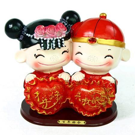普润 中国风婚庆摆件人偶摆件情人节礼物千年修得共枕眠大号