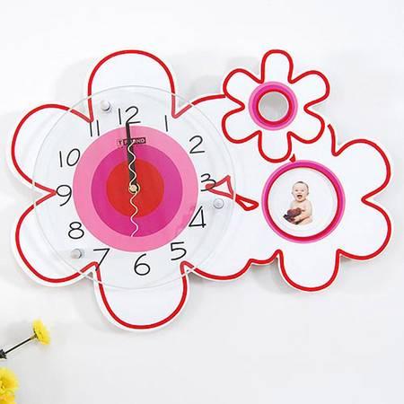 普润 创意家居白花挂钟 个性静音电子钟现代时钟艺术挂表