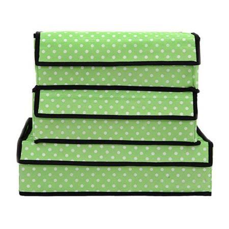 普润 文胸加高内裤内衣收纳盒有盖三件套多件整理储物收纳箱 绿色圆点