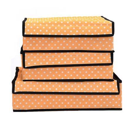 普润 文胸加高内裤内衣收纳盒有盖三件套多件整理储物收纳箱 橙色圆点