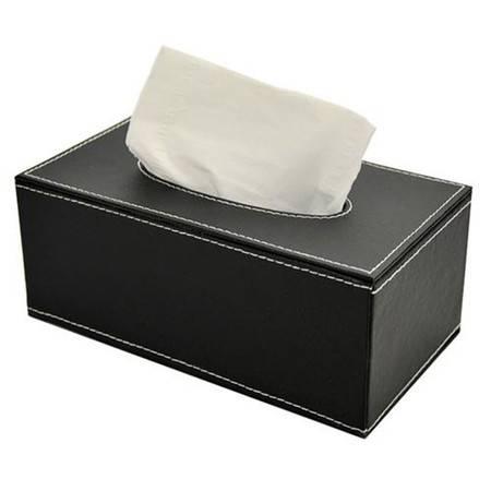 开馨宝 奢华皮质长方形纸巾盒/纸巾抽-黑色