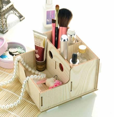 普润 实用二代DIY镂空木质收纳盒 化妆盒 橡色