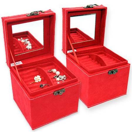 开馨宝 欧式兔绒三层首饰盒/饰品盒/储物盒-大红色(K8518-2)
