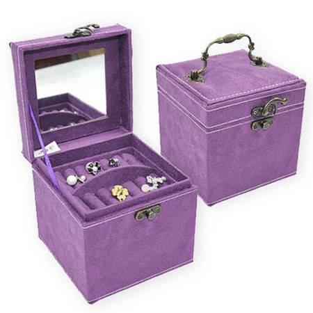 开馨宝 欧式兔绒三层首饰盒/饰品盒/储物盒-紫色(K8518-1)