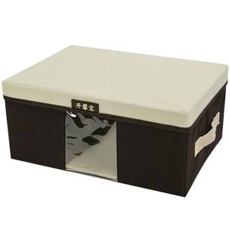 开馨宝毛衣收纳箱/带盖可视衣物整理箱-小号 咖啡色(K8229-1)