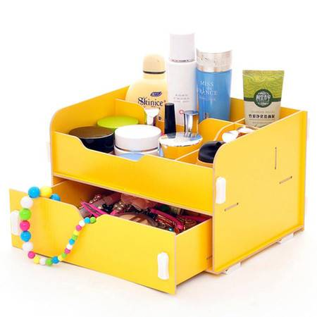 普润 实用二代DIY大抽屉木质收纳盒/化妆盒(AJ012)--黄色