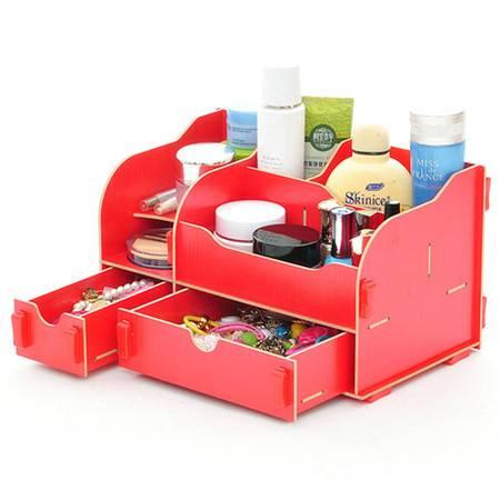 普润 实用二代DIY一大一小A款双抽屉木质收纳盒 红色