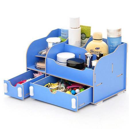 普润 实用二代DIY一大一小A款双抽屉木质收纳盒蓝色