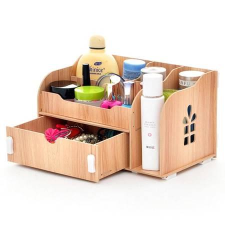 普润 实用二代DIY开侧窗大抽屉木质收纳盒/化妆盒(AJ013)--柚色