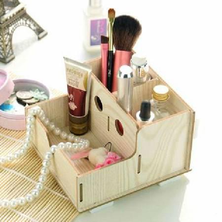 普润 实用二代DIY镂空木质收纳盒 化妆盒 白色