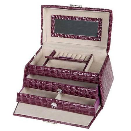 开馨宝 梯形PU三层大容量首饰盒/饰品收纳盒-紫色(K8526-1)