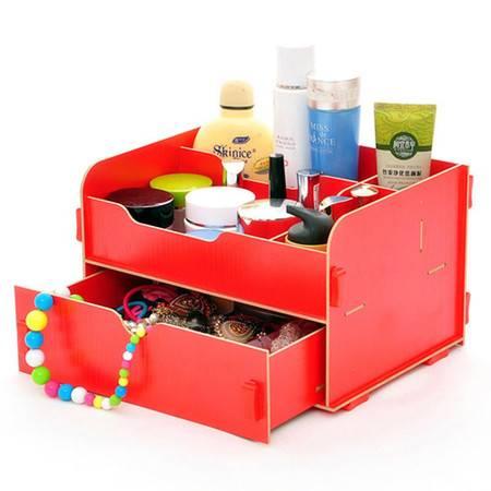 普润 实用二代DIY抽屉木质收纳盒/化妆盒(AJ012)--红色