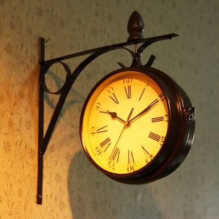 普润 欧式复古创意挂钟创意钟表时尚挂钟 双面侧挂
