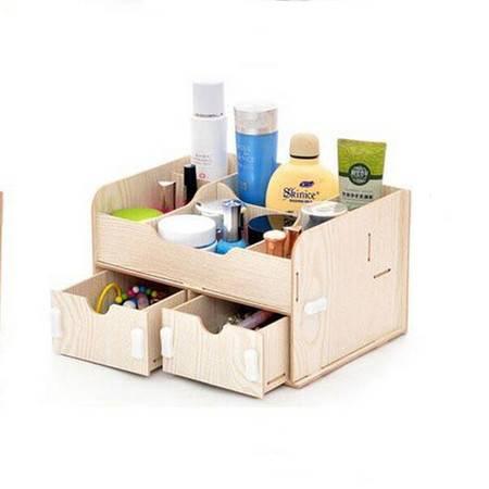 普润 实用二代DIY双抽屉木质收纳盒 白色
