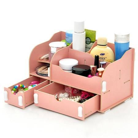 普润 实用二代DIY一大一小A款双抽屉木质收纳盒 粉色