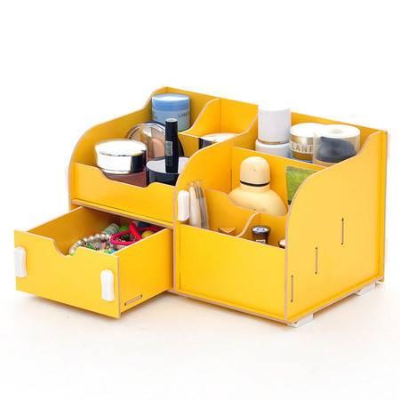 普润 实用二代DIY单抽屉木质收纳盒/化妆盒(AJ017)--黄色