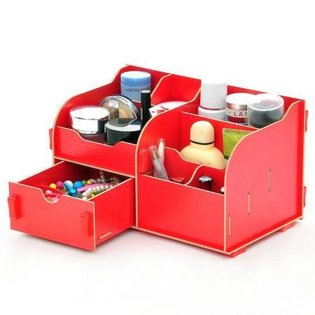 普润 实用二代DIY单抽屉木质收纳盒/化妆盒(AJ017)--红色