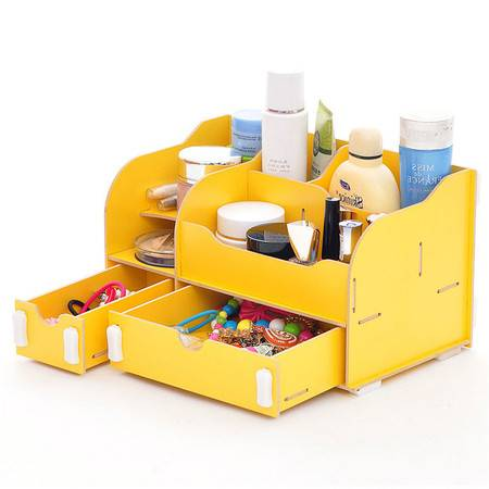 普润 实用二代DIYA款双抽屉木质收纳盒/化妆盒--黄色