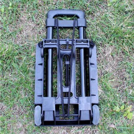 普润 黑色外烤漆拉杆折叠行李车 便携手拉家用购物车 黑色